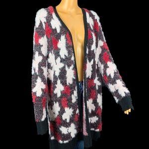 Lane Bryant EUC Fuzzy Sweater Cardigan 14/16 Black